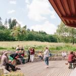 Essen mit Ausblick von der Terrasse unserer Gemeinschafts-Cantina